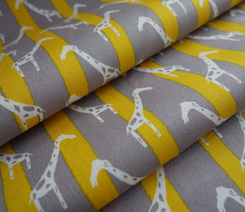 Giraffe - Zoo Candy - Yellow Grey Stripes - Hokkoh Japanese Fabric