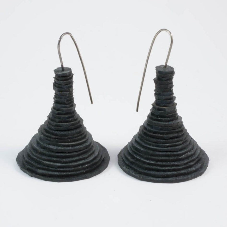 Spool earrings - black