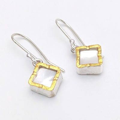 Square 22ct gold edged mother of pearl silver earrings