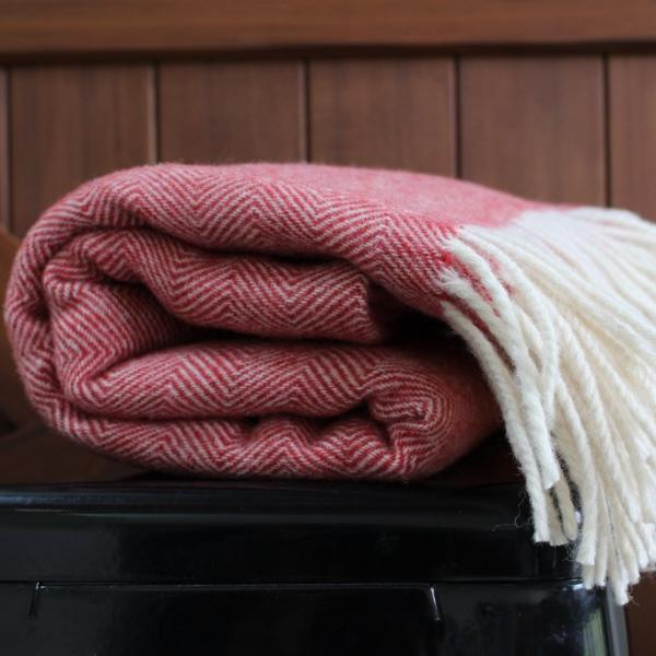 Raspberry Lambs Wool Blanket