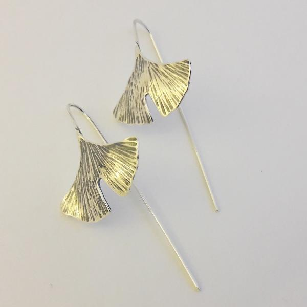 Big ginkgo leaf earrings