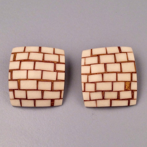 Brick stud earrings
