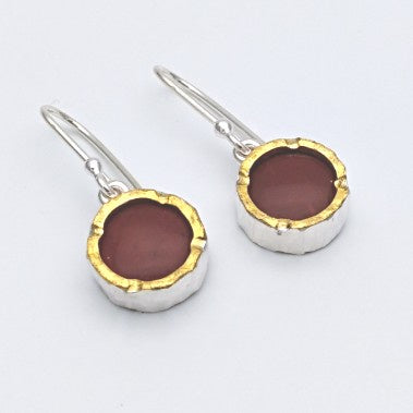 Round 22ct gold edged jasper silver earrings