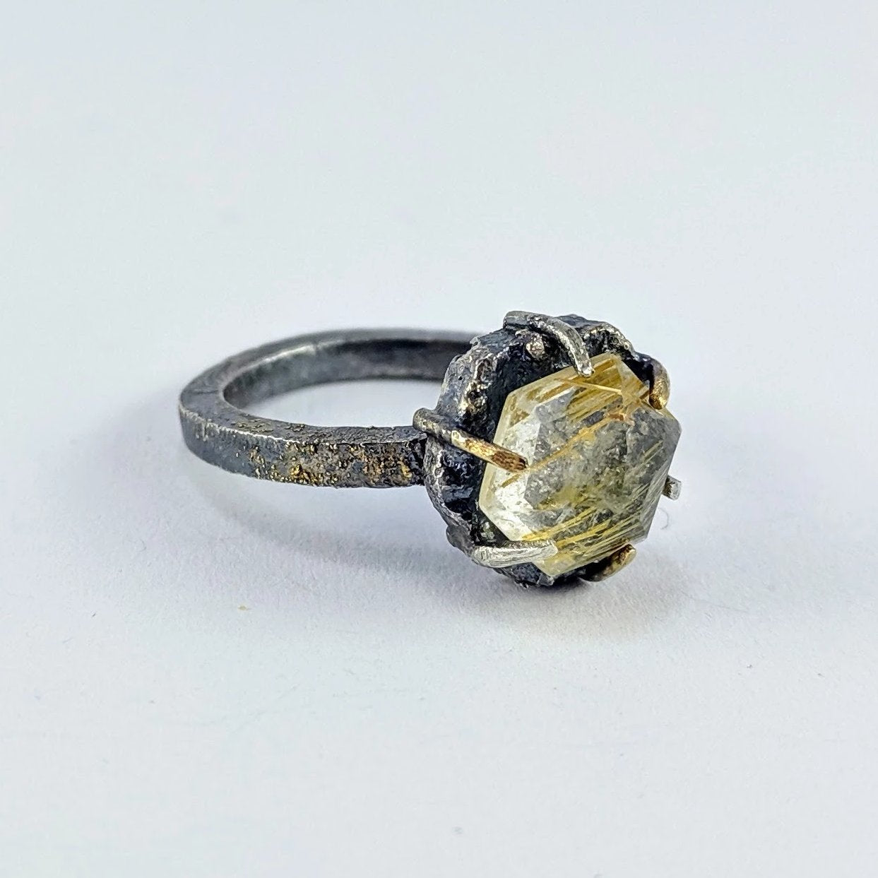 Future Artefact ring with rutilated quartz