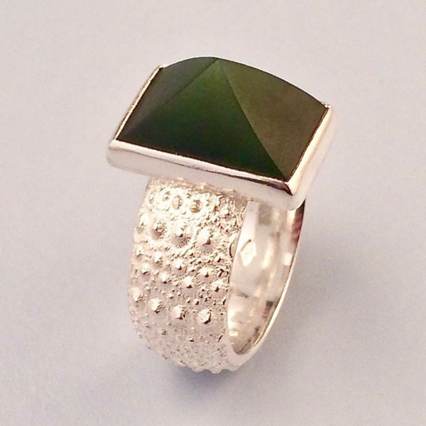 Silver kina and greenstone ring