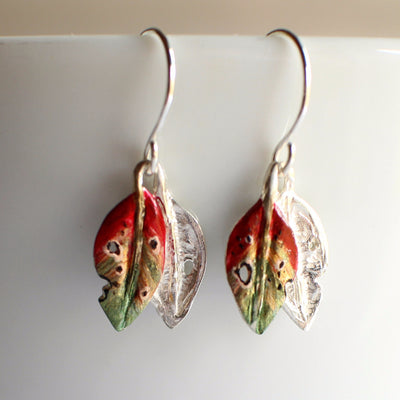 Pohutukawa leaf hook earrings