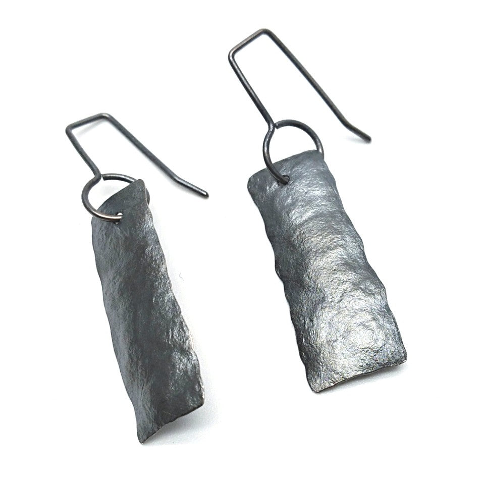 Oxidised silver short strip earrings