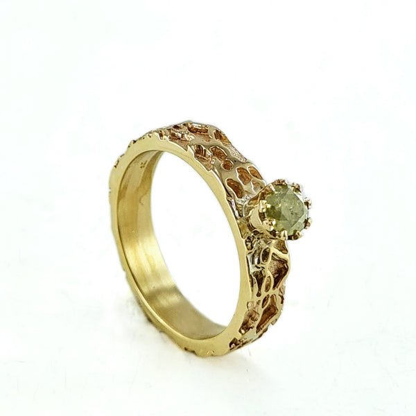 Halo lace solitaire ring - yellow salt & pepper diamond