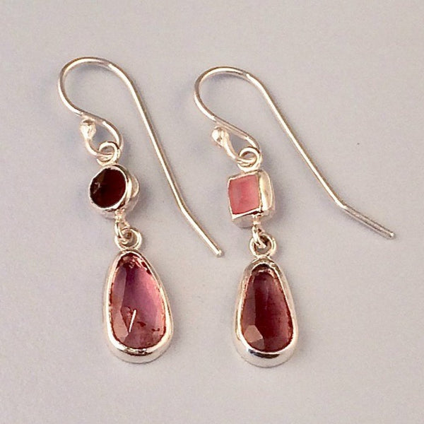 Pink tourmaline drop silver earrings