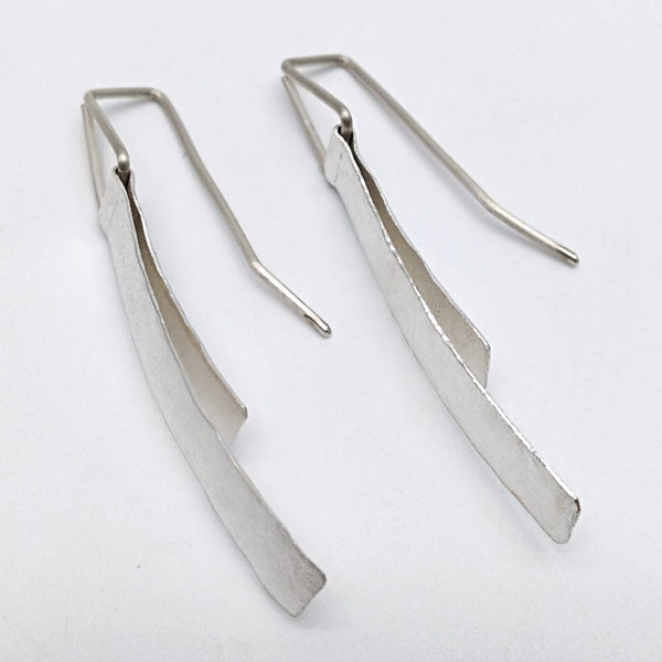 Silver folded earrings