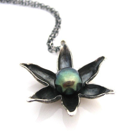 Silver Floating lotus necklace