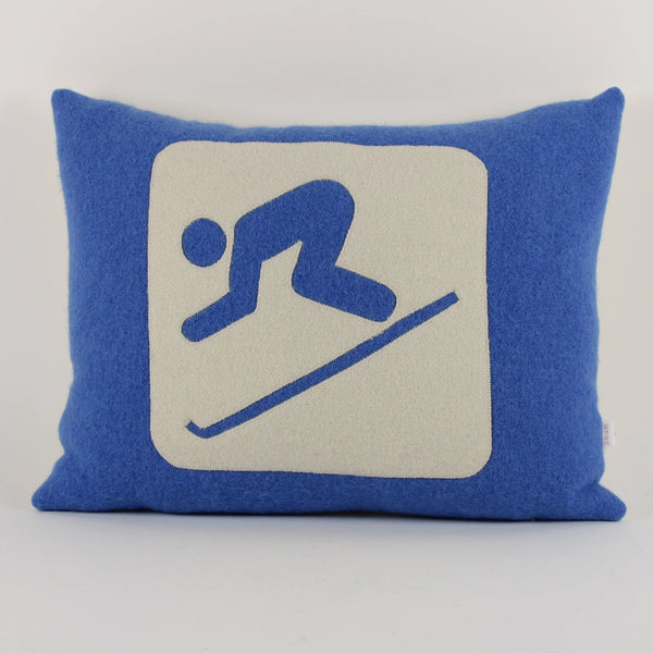Skier cushion - blue background