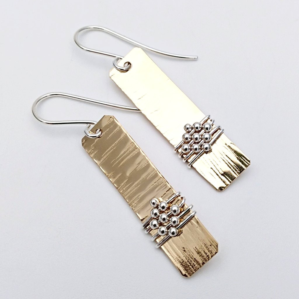 Gold bar earrings with silver