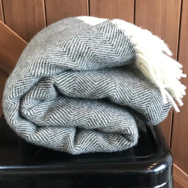 Charcoal Lambs Wool Blanket