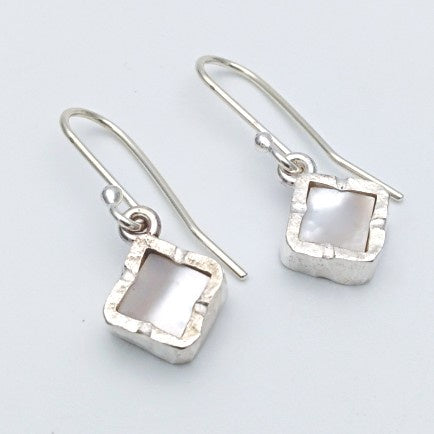 Square mother of pearl silver earrings