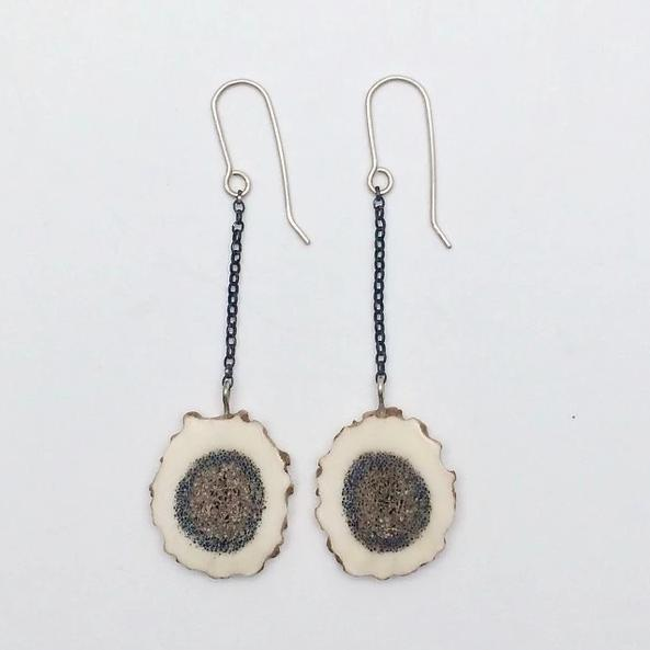 Large antler cross-section earrings