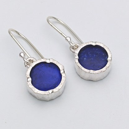 Round lapis silver earrings