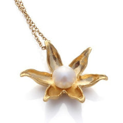 Gold Floating lotus necklace