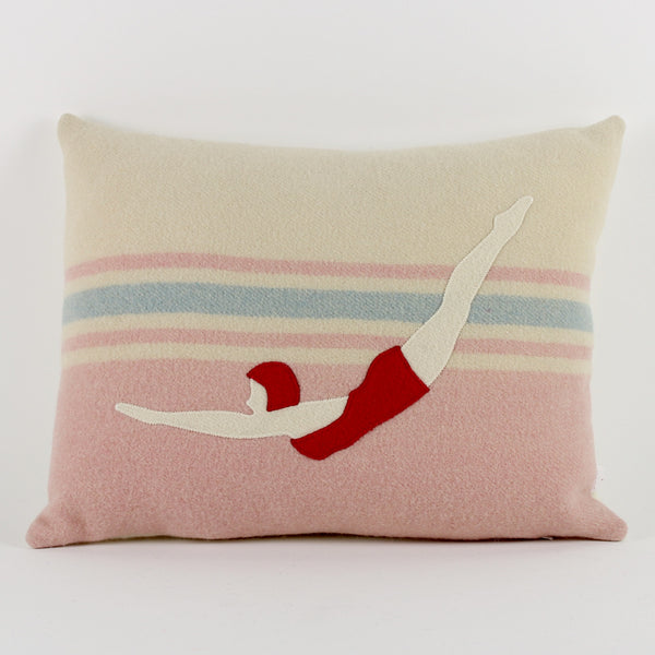Swimmer cushion - pink background