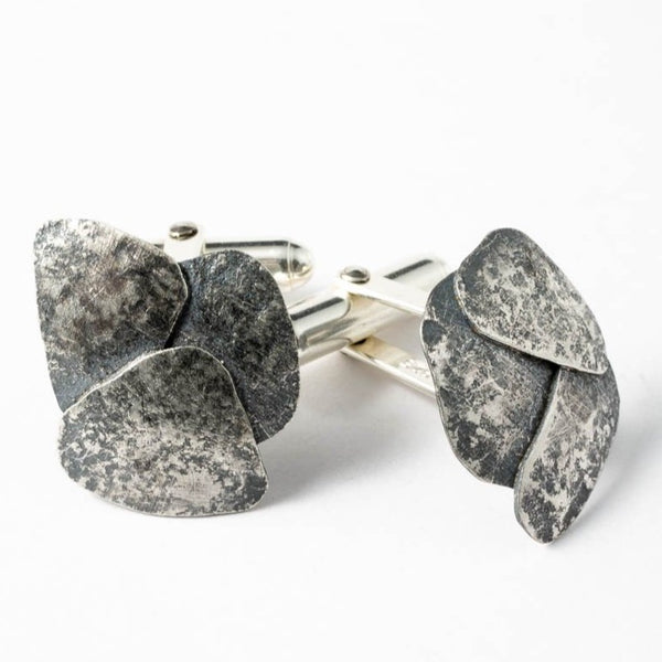 Riverbed cufflinks - oxidised