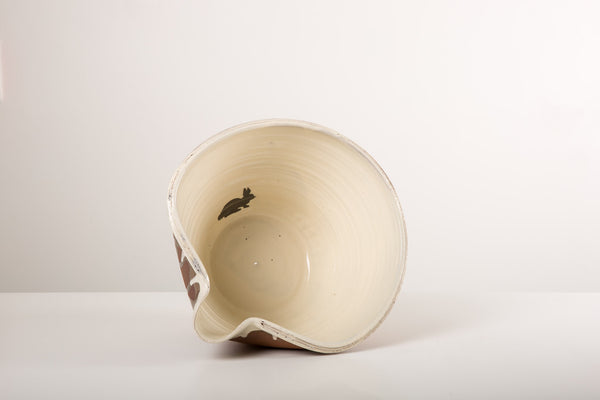 Large White Pouring Bowl - bunny