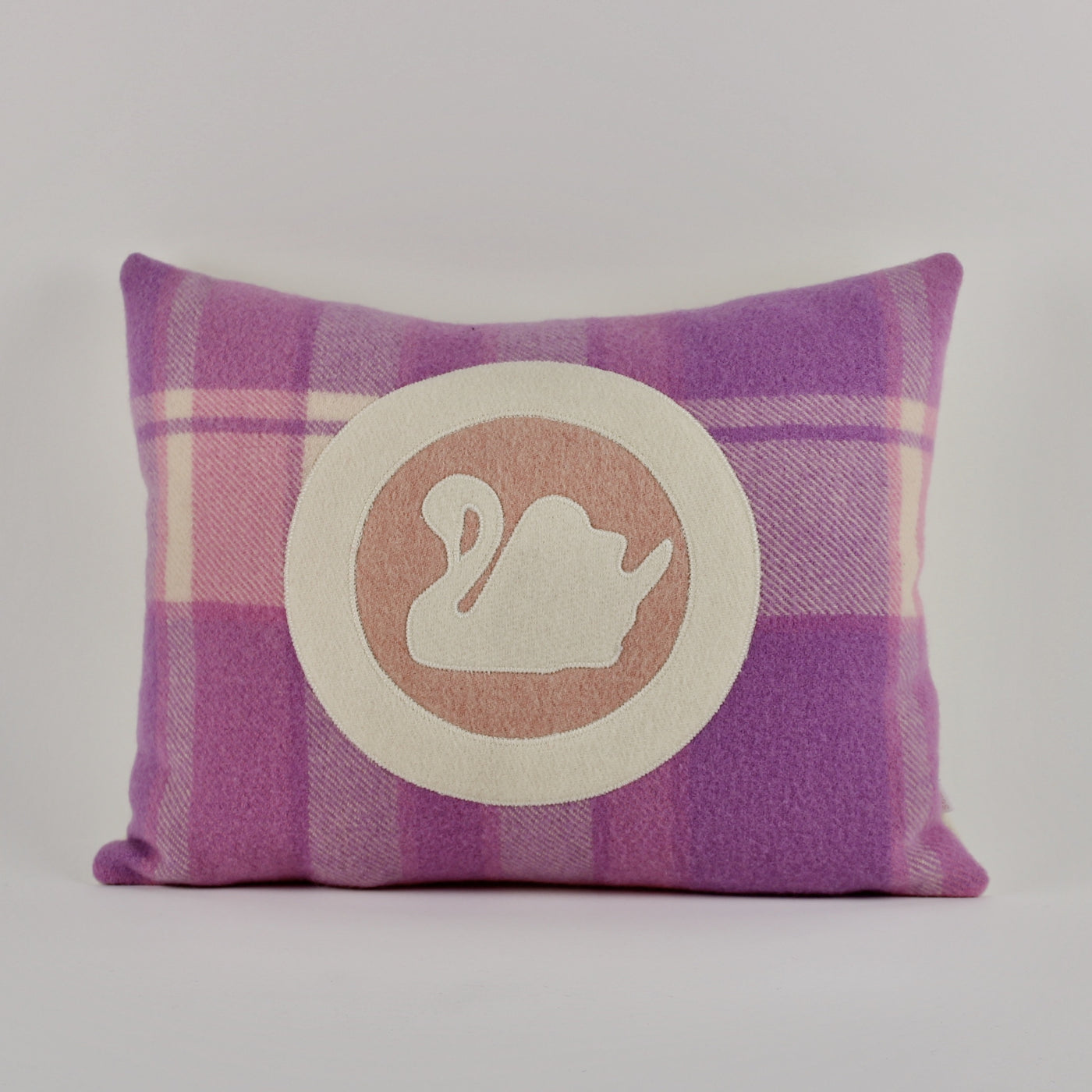 Swan cushion - pink background