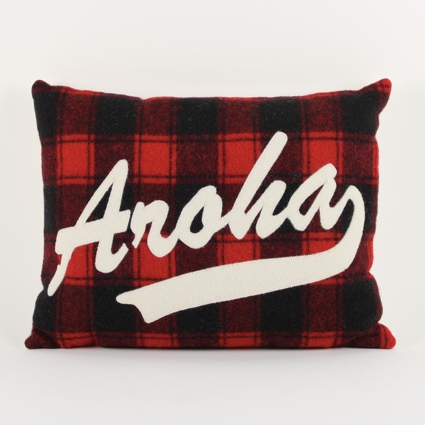 Aroha cushion - red check background