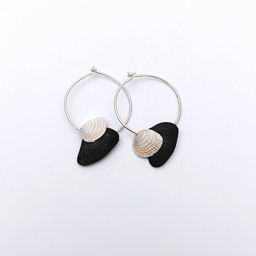 Silver double shell earrings
