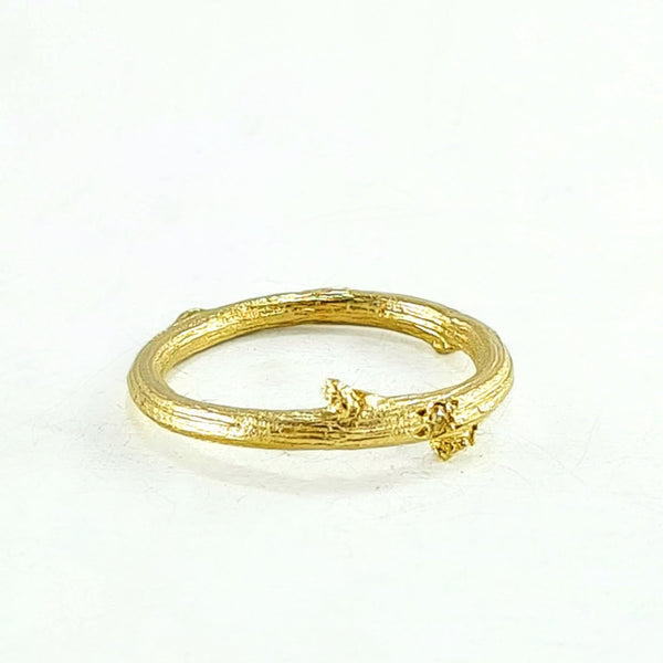 Briar twig ring - champagne diamond