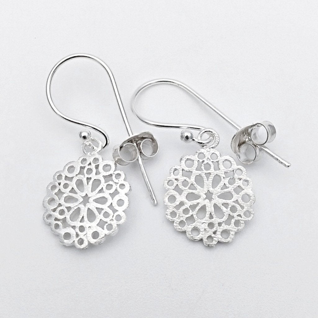 Silver doily earrings