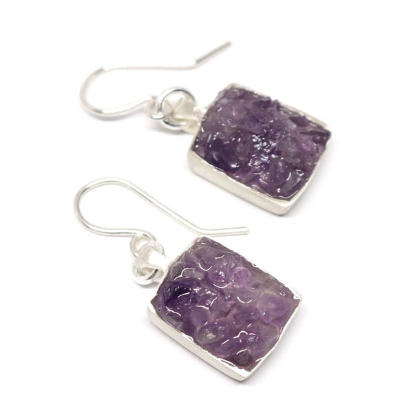 Amethyst square earrings