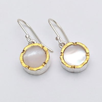 Round 22ct gold edged mother of pearl silver earrings