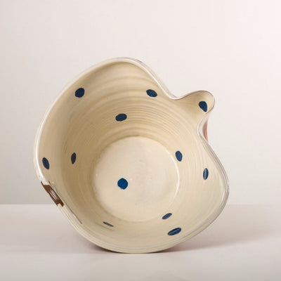 Large White Pouring Bowl - blue spots