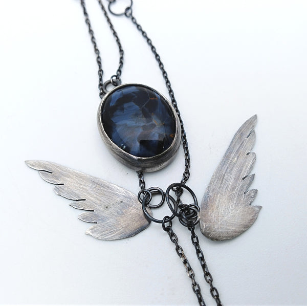 Blue petersite winged pendant