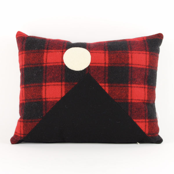 Mountain cushion - red check background