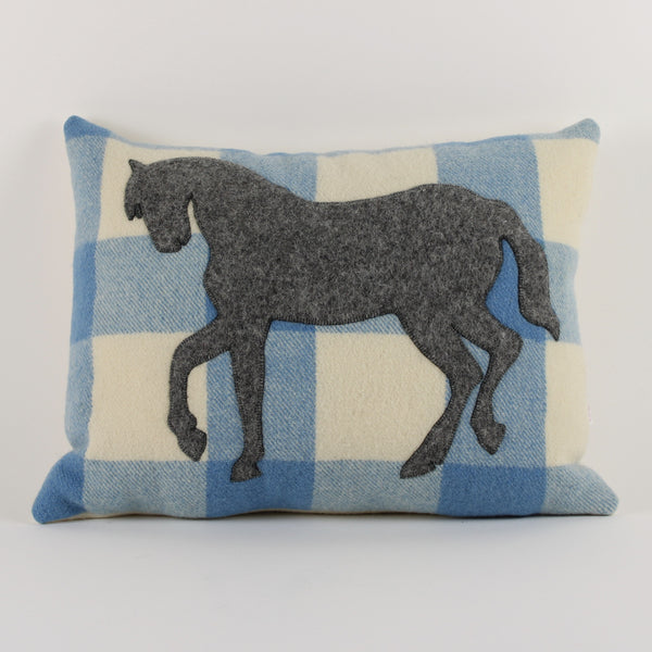 Horse cushion - blue check background
