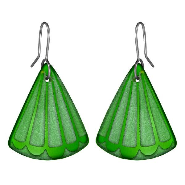 Fantail tail earrings - green