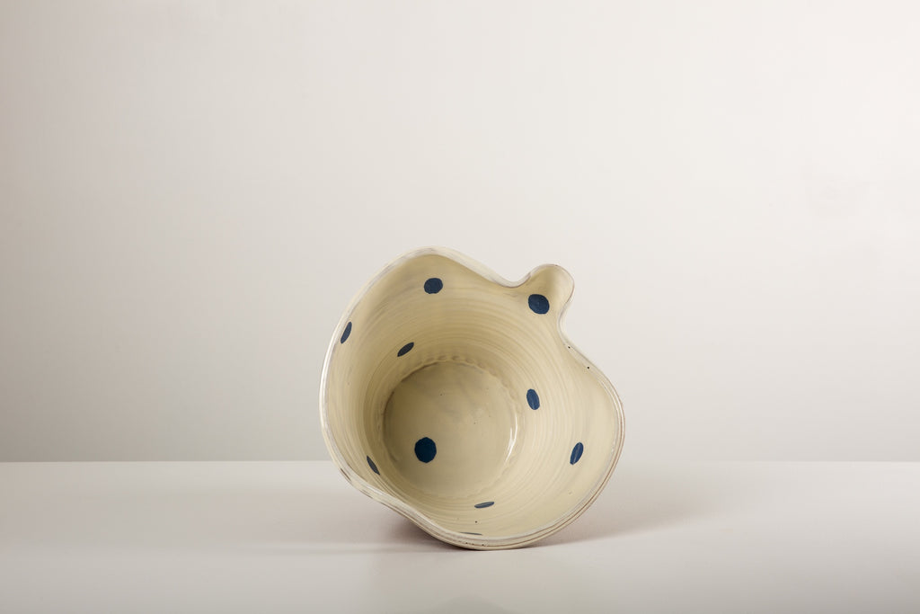 Medium White pouring Bowl - blue spots