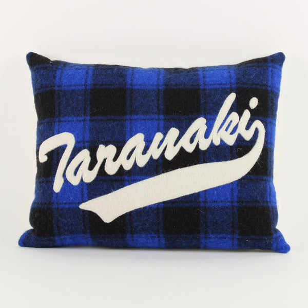 Taranaki cushion - blue check background