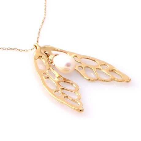 Gold wing necklace