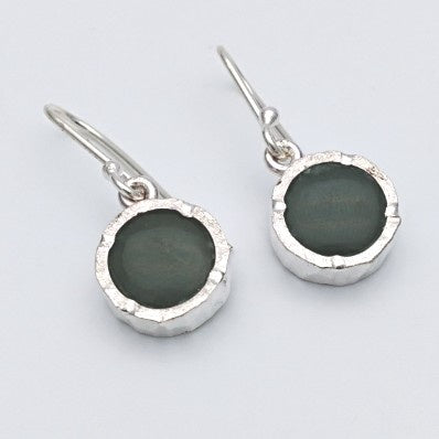 Round pounamu silver earrings