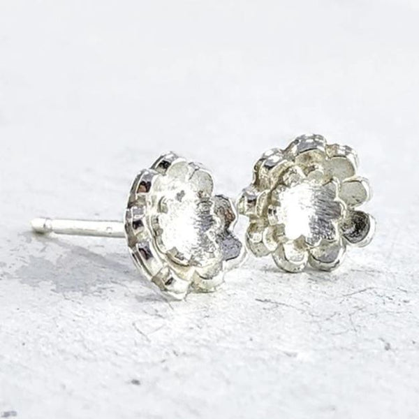 Briar double flower studs - medium silver