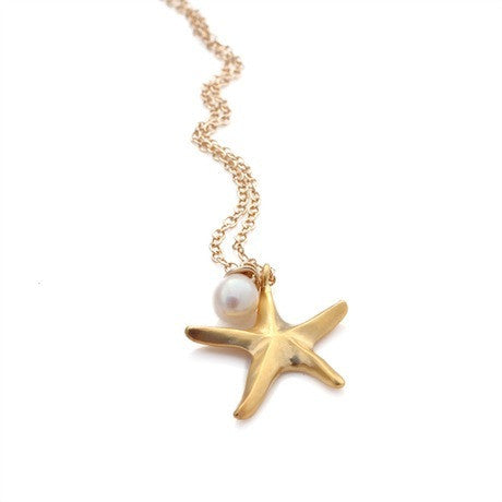 Small Gold Starfish Necklace
