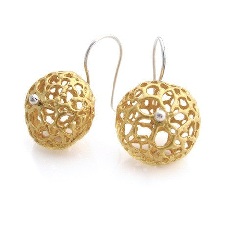 Gold Lace Pod Earrings