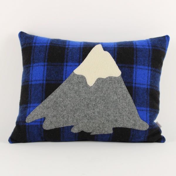 Mt Taranaki cushion - blue check