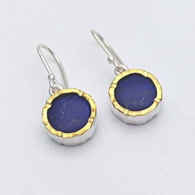 Round 22ct gold edged lapis silver earrings