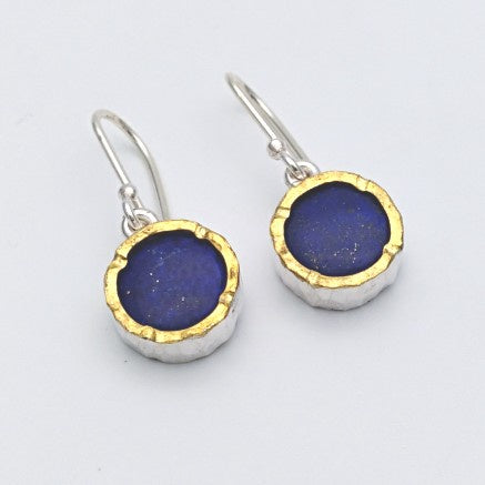 Lapis earrings - round gold