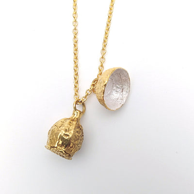 Gold Plate Poppy and Acorn Necklace - silver inside