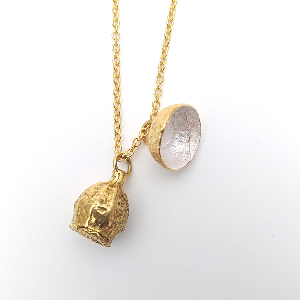 Gold ANZAC Poppy and Acorn Necklace - silver inside