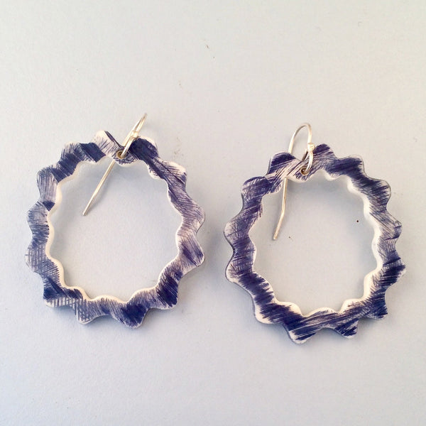 Dyed wavy bone earrings